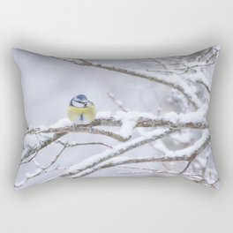 Blue Tit On A Snowy Branch Winter Scene #decor #society6 Rectangular Pillow