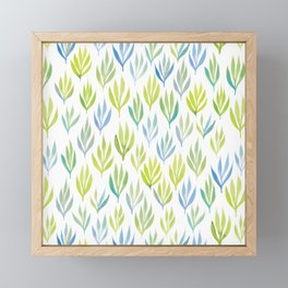 Watercolour Ferns | Green and Blue Framed Mini Art Print