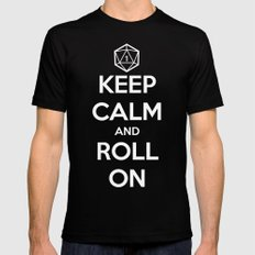 Keep Calm and Roll On Mens Fitted Tee Black LARGE