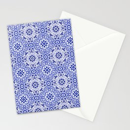 Chinese Porcelain Print Moroccan Tiles Oriental Moroccan Tiles Royal Blue White Tiles Stationery Cards