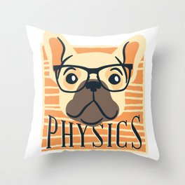 PHYSICS NERDY DOG ART DESIGN Throw Pillow