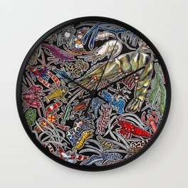 Prawns, gambas and shrimps for ocean lovers, marine biologists and scuba divers Wall Clock