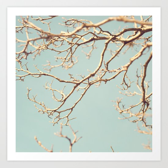 Pale Blue Winter (Tree branches on a retro pale blue sky) Art Print