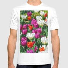 Flowers field White Mens Fitted Tee MEDIUM
