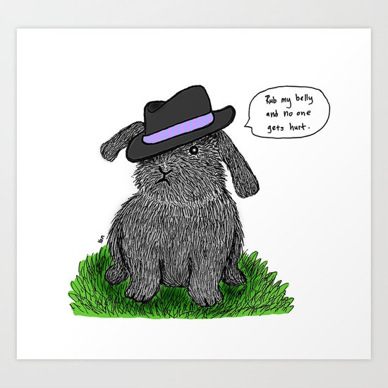 Mafia Rabbit Art Print