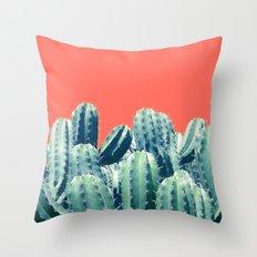 Cactus on Coral #society6 #decor #buyart Throw Pillow