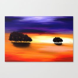 Painting of a landscape in purple and orange Canvas Print
