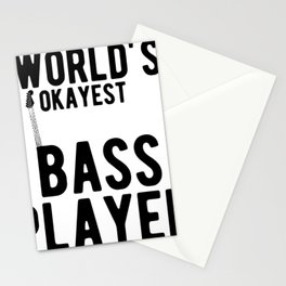 World's Okayest Bass Player Funny Guitar Player Graphic Stationery Cards