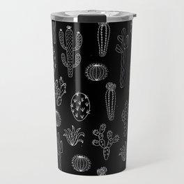 Cactus Silhouette White And Black Travel Mug