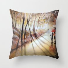 Break in the clouds - watercolor Throw Pillow