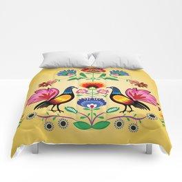 Polish Folk With Decorative Floral & Cockerels Comforters