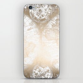 Antique White Gold World Map iPhone Skin