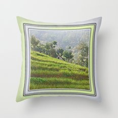 PEACEFUL TERRACED HILLS OF NEPAL Throw Pillow