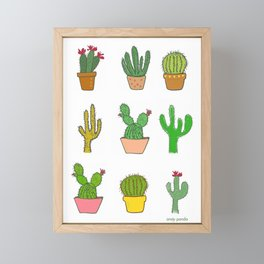 Colorful cactus Framed Mini Art Print