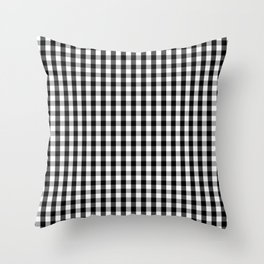 Classic Black & White Gingham Check Pattern Throw Pillow
