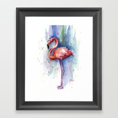 Pink Flamingo Watercolor Tropical Animals Birds Framed Art Print