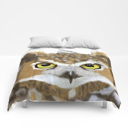 Great Horned Owl & Poly Thoughts Comforters