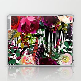 Floral On Zebra Pattern Laptop & iPad Skin