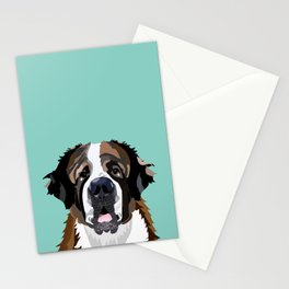 Saint Bernard pet portrait dog breed gifts for pure breed dog lovers Stationery Cards