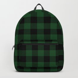 Jumbo Forest Green and Black Rustic Cowboy Cabin Buffalo Check Backpack