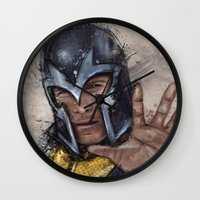 magneto Wall Clocks featuring Magneto. by Emiliano Morciano (Ateyo)
