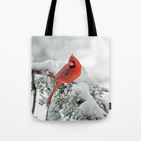 Cardinal on Snowy Branch Tote Bag