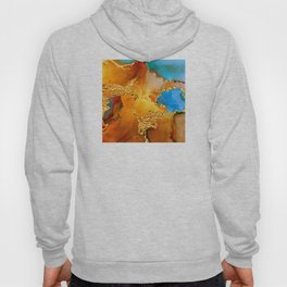 Sophisticated Glitter Gold and Blue Abstract Paint Texture Hoody