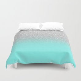 Modern girly faux silver glitter ombre teal ocean color bock Duvet Cover