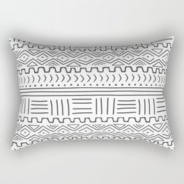 Mud Cloth on White Rectangular Pillow