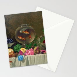 Still Life of Roses Fruit and a Bowl of Goldfish by Milne Ramsey Stationery Cards