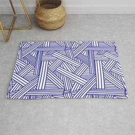 Sketchy Abstract (Navy Blue & White Pattern) Rug