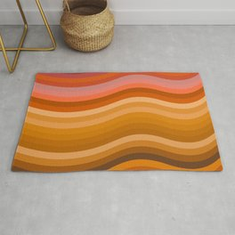 Groovy Wavy Lines in Retro 70s Colors Rug