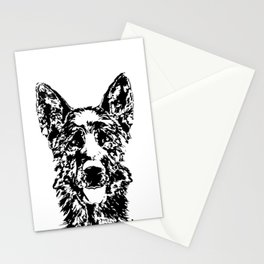 German Shepherd Pen Ink Drawing Stationery Cards