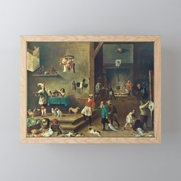 The Kitchen by David Teniers the Younger Framed Mini Art Print