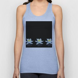 Waterlily Flowers On Black Background #decor #society6 #buyart Unisex Tank Top