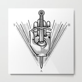 """""""True, Absolute Power"""" Occult Hand and Dagger Symbol Metal Print"""