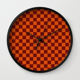 checkerboard 2(sinopia&rosewood) Wall Clock