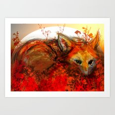 Fox in Sunset III Art Print