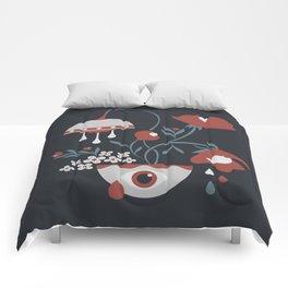 Dark Funky Flowers Comforters