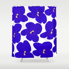 Blue Retro Flowers #decor #society6 #buyart Shower Curtain