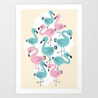 Flamingo Go Go Art Print