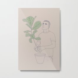 Repotting his Fiddle-Leaf Fig Plant Metal Print