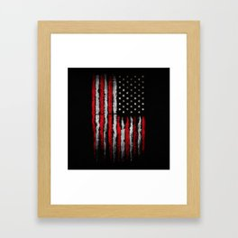 Red & white Grunge American flag Framed Art Print