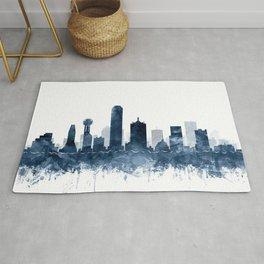 Dallas Skyline Blue Watercolor by Zouzounio Art Rug