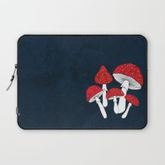 Red mushrooms field on navy blue Laptop Sleeve