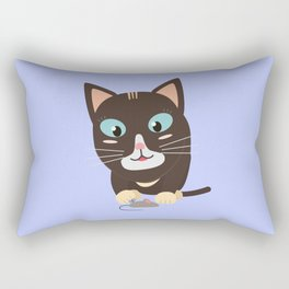 Cat with toy mouse   Rectangular Pillow