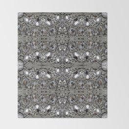 girly chic glitter sparkle rhinestone silver crystal Throw Blanket