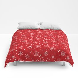 Red & White Snowflakes Pattern Comforters