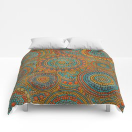Dot Art Circles Orange and Blues Comforters
