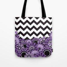 Purple Flower Chevron Tote Bag